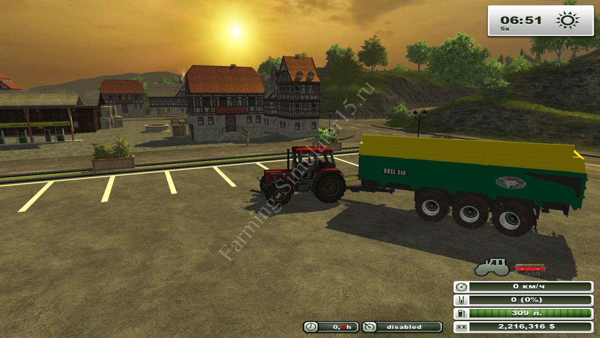 Benne Gyrax BMXL 340 DV v 1.0 - мод трехосного прицепа Farming Simulator 13, Farming Simulator 2013