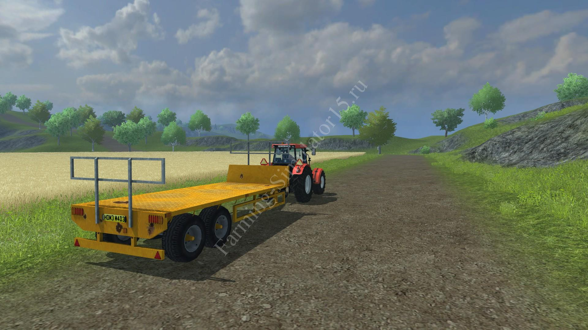 Мод прицепа для тюков Homemade Flatbed Trailer v 1.0 Farming Simulator 2013, Farming Simulator 13