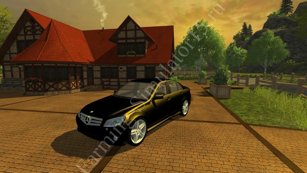 Мод легкового авто Mercedes Benz C350 v 1.0 Black More Realistic Farming Simulator 2013, Farming Simulator 13