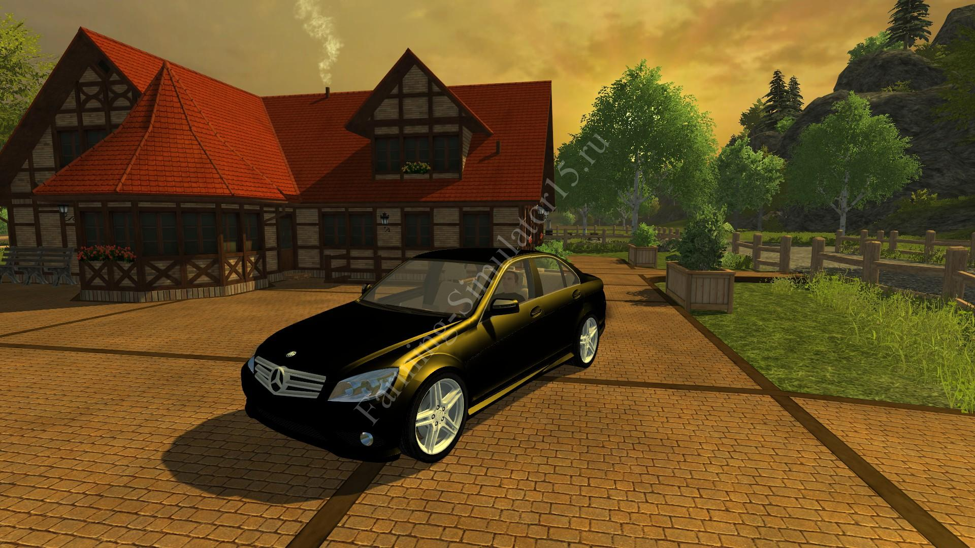 Мод легкового авто Mercedes Benz C350 v 1.0 Black More Realistic Farming Simulator 2013, Farming Simulator 13