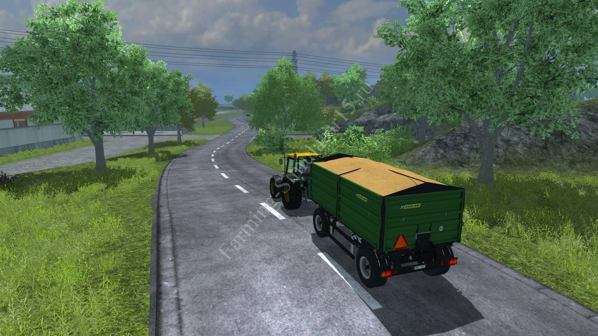 Мод прицепа с поворотным кругом Zaslaw D 737AZ Green v 2.0 Farming Simulator 2013, Farming Simulator 13