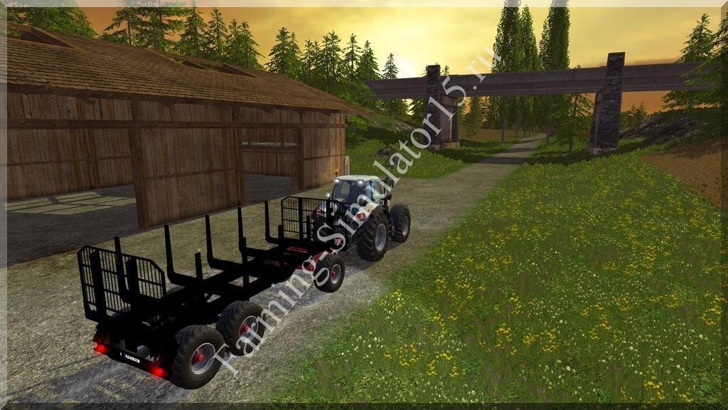 Мод прицеп для перевозки бревен Kroeger Rungenwagen v 1.1 Farming Simulator 15, 2015