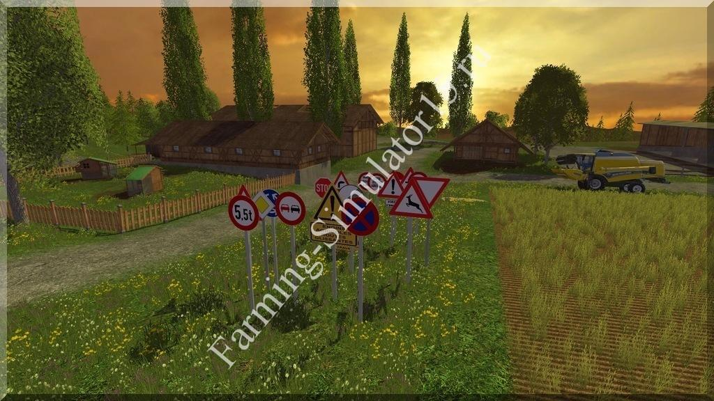 Мод Warning traffic signs v 1.1 Placeable Farming Simulator 15, 2015