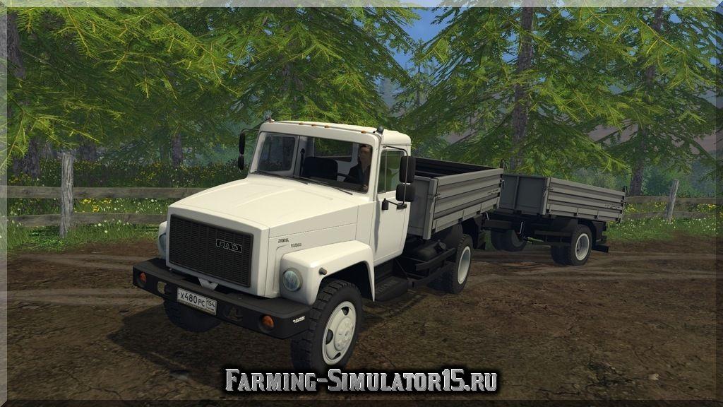Мод грузовика ГАЗ CA3 35071 c прицепом Farming Simulator 15, 2015