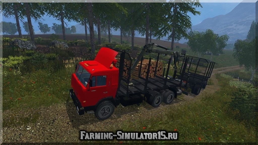 Мод лесовоза Камаз KamAZ-54115 Forest & Trailer v1.0 Farming Simulator 2015, 15