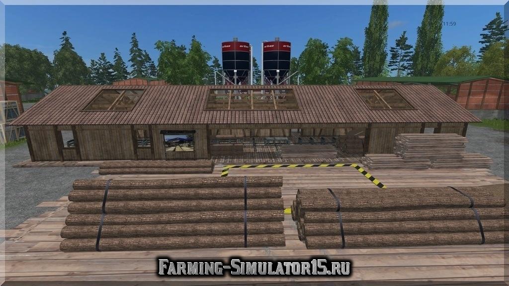 Мод пункта продажи щепы Holzschnitzelhandel v 1.3 Placeable Farming Simulator 2015