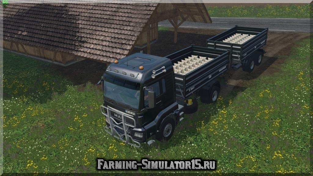 Мод грузовика MAN TGS 18.440 Tipper & Trailer v 1.4 Farming Simulator 2015