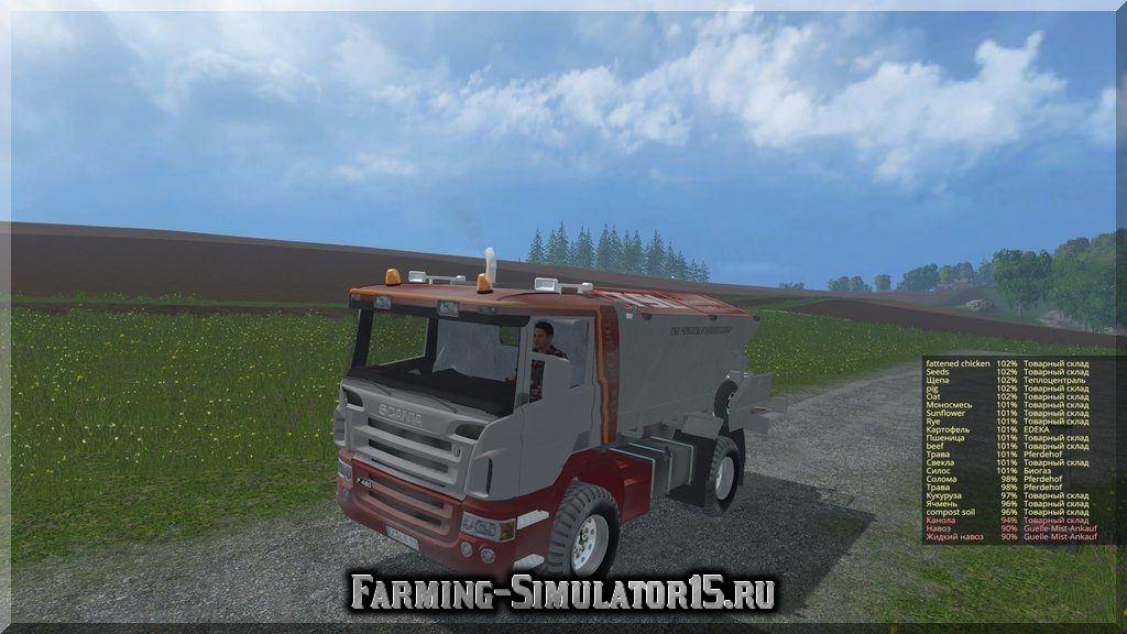 Мод грузовика Scania P420 Lime v 1.0 Dirt Farming Simulator 2015