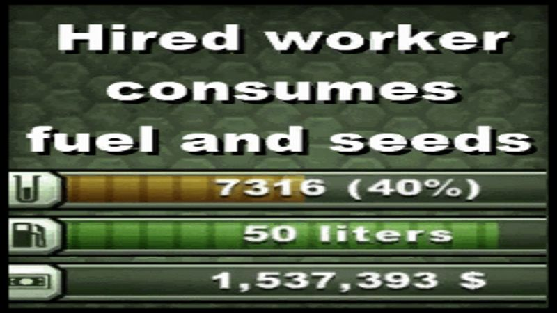 Мод Hired Worker Consumes Fuel Seeds v 1.0 Farming Simulator 15