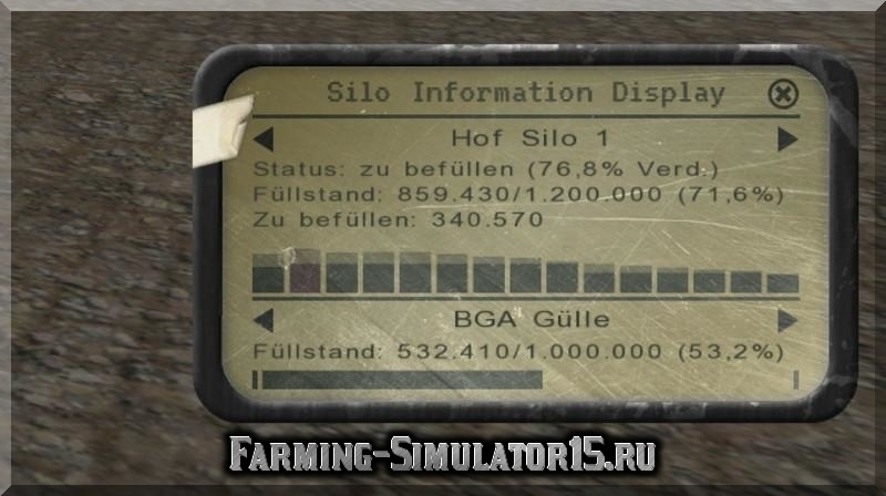 Мод BunkerSilosHud Farming Simulator 2015