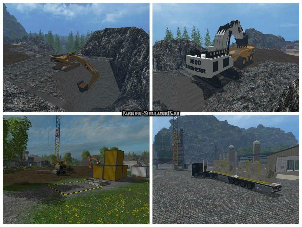 Мод карта Mining and Construction Economy v1.2 Farming Simulator 15