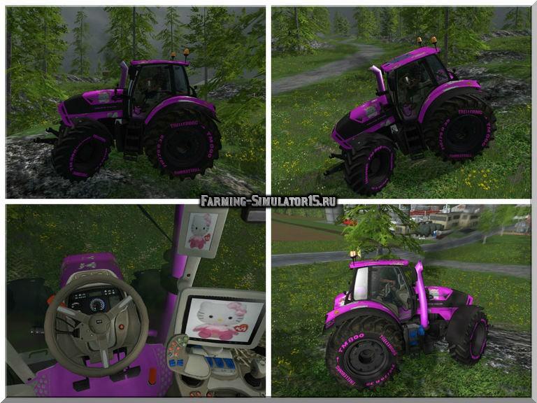 Мод трактор Deutz Fahr 7250 Hello Kitty v 1.0 Farming Simulator 2015
