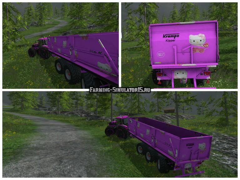 Мод прицепа Krampe BBS 900 Hello Kitty v 1.0 Farming Simulator 2015