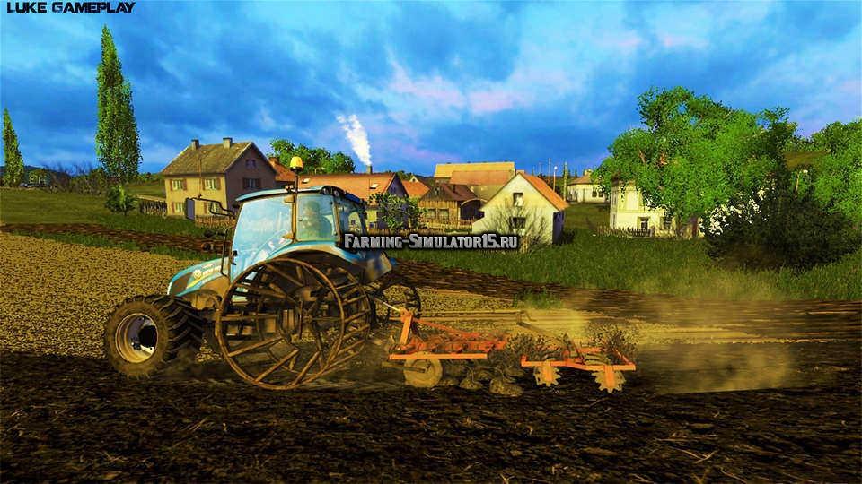 Мод трактор NEW HOLLAND T4.75 WITH IRON WHEEL FS15 V 2.0 Farming Simulator 2015