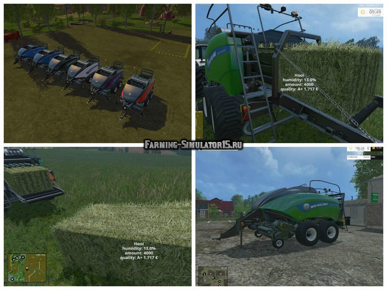 Мод тюкопресс New Holland BigBale G1290 Gras Bale v 3.0 Farming Simulator 15