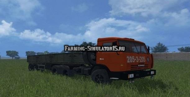 Мод грузовик Kamaz КамАЗ 54115 с прицепом ОдАЗ 9380 Фермер Симулятор 2015