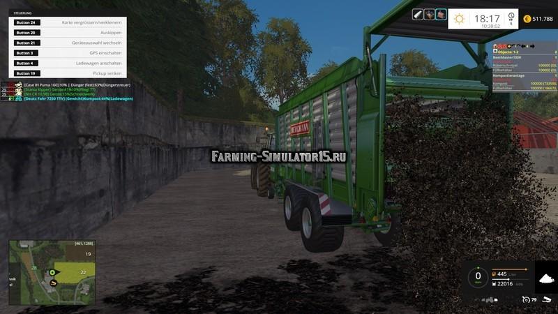 Мод прицеп Bergmann 38 Carex SC v 1.0 Compost Farming Simulator 15