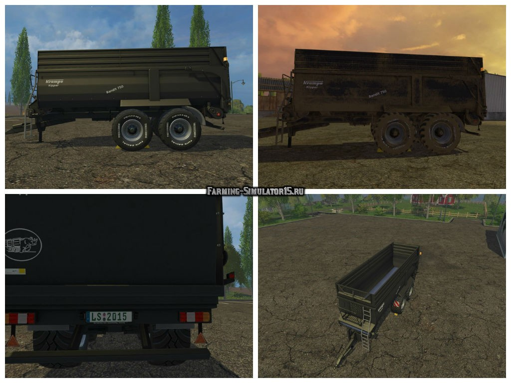 Мод прицеп Krampe Bandit 750 v 1.0 Black Edition Farming Simulator 2015