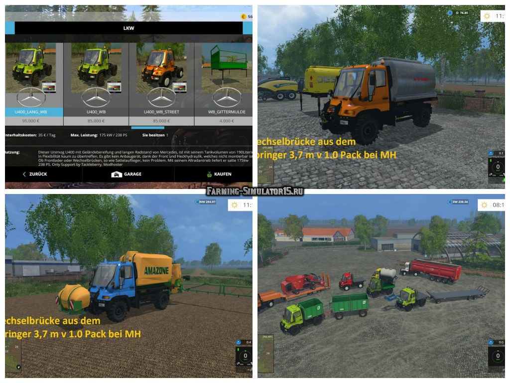 Мод ПАК грузовиков Unimog U400 WB v 1.2 Farming Simulator 15