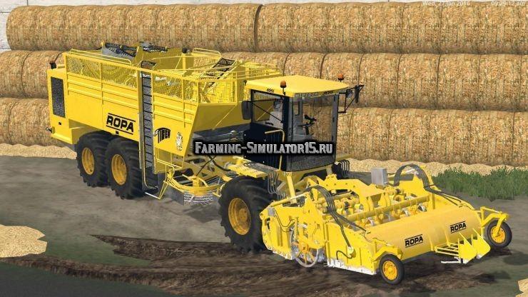 Мод комбайн ROPA EURO TIGER V8 3 V1.2 Farming Simulator 15