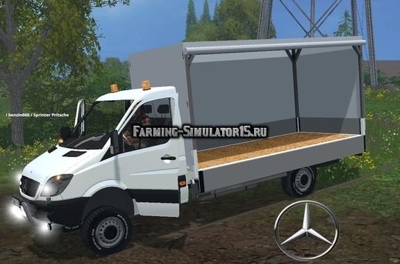 Мод грузовик Mercedes Sprinter 313 CDI Pritsche Farming Simulator 15
