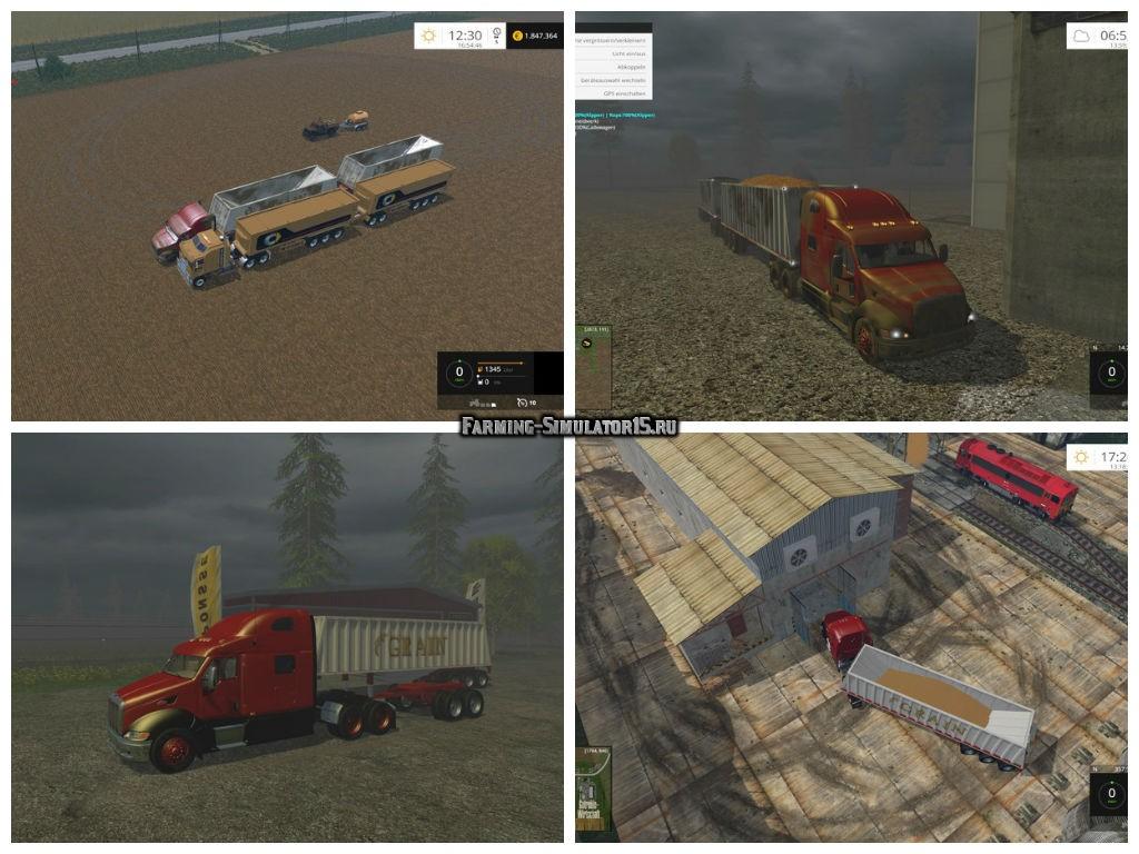 Мод грузовик Peterbilt Roadtrain v 1.1 Farming Simulator 15