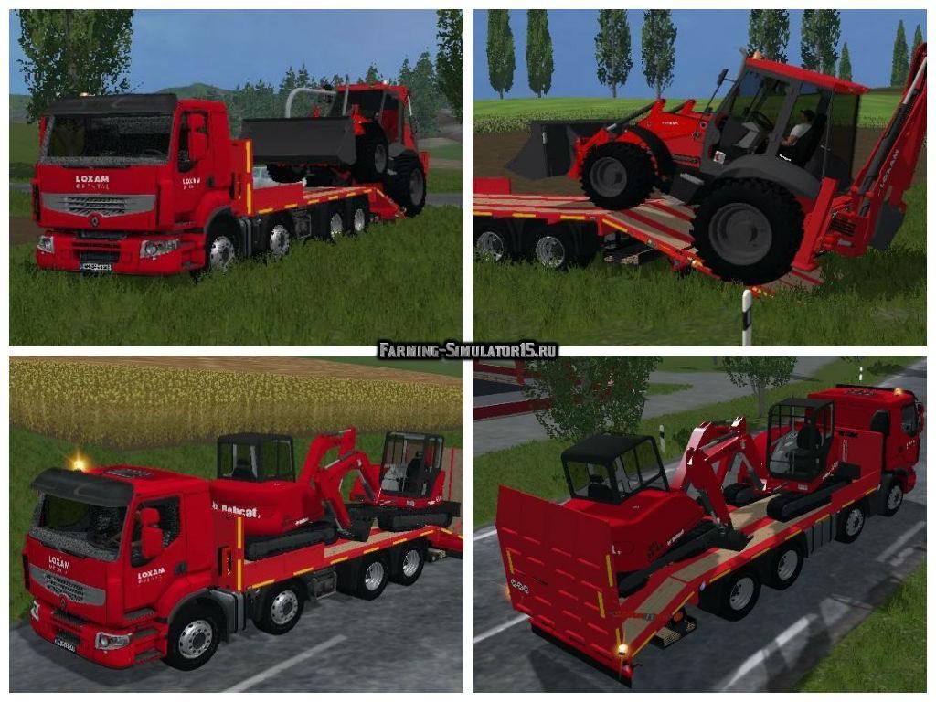 Мод грузовик Renault Premium Lander 8×4 Loxam Edition Farming Simulator 15