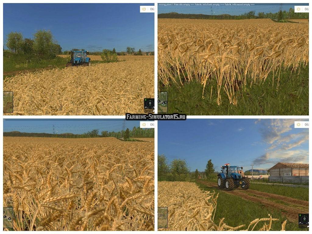 Мод текстуры WHEAT & BARLEY REAL TEXTURE V1.1 Farming Simulator 2015