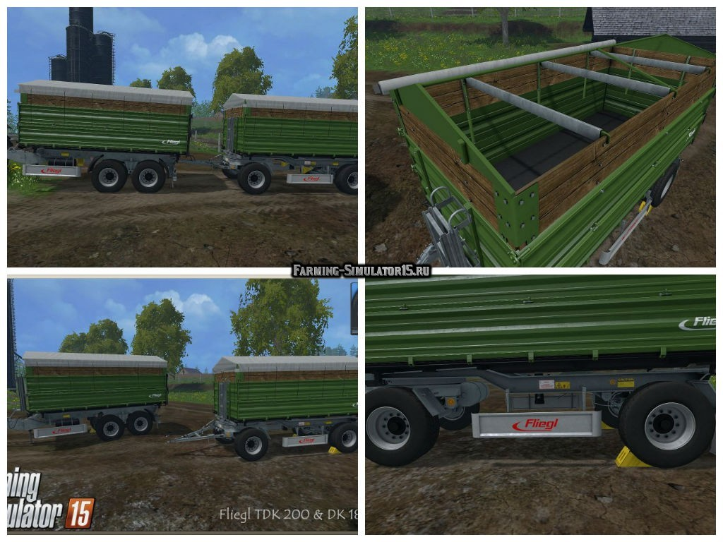 Мод ПАК прицепы Fliegl Trailer Pack v 1.0 Dunkelgrün Farming Simulator 2015