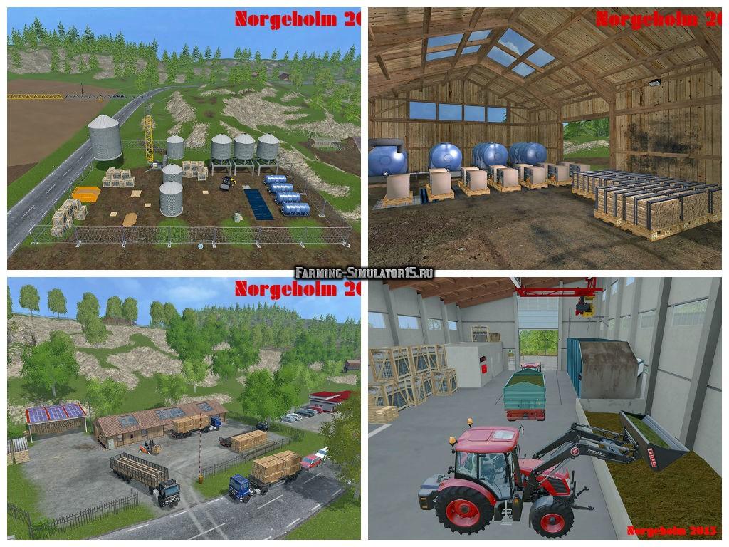 Мод карты NorgeHolm v1.7 Multifruit SoilMod GMK & MBO Farming Simulator 15