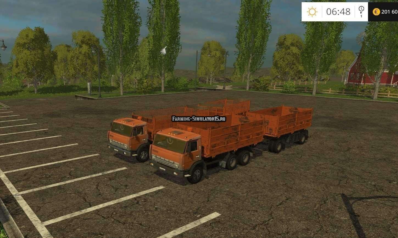 Мод ПАК грузовик КАМАЗ 55102 и НЕФАЗ 8560 Фарминг Симулятор 2015