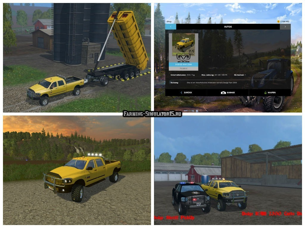 Мод авто Dodge RAM 2500 Heavy Duty v 2.0 Farming Simulator 2015