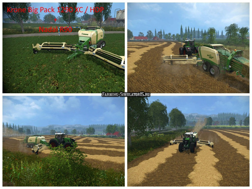 Мод тюкопресс Krone Big Pack 1290 and Nadal R90 V 1.0 Baler Farming Simulator 2015
