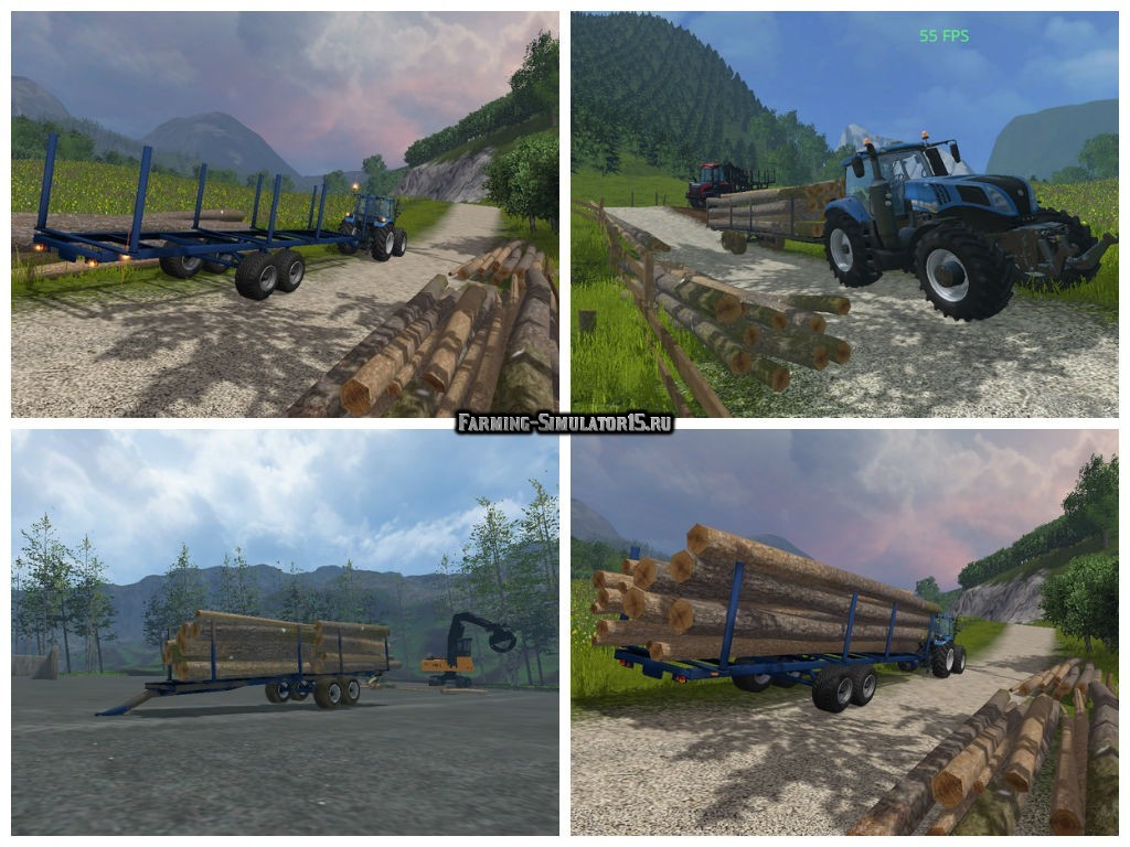 Мод прицеп Log Trailer with Autoload v 1.1 автозагрузка Farming Simulator 15