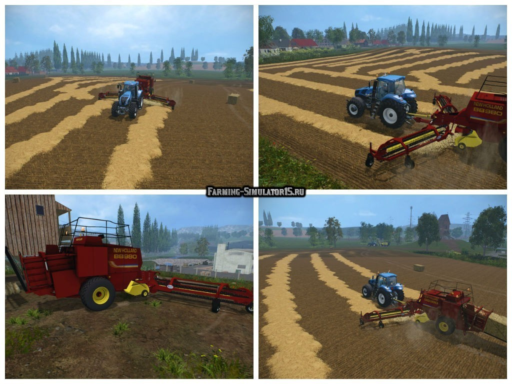 Мод тюкопресс New Holland BB 980 & Nadal R90 v 1.0 Farming Simulator 15