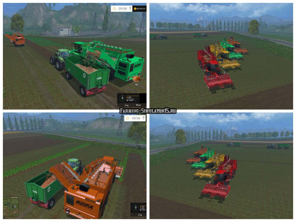 Мод ПАК комбайнов Ropa Euro Tiger Pack v2.1 + морковь, лук Farming Simulator 15