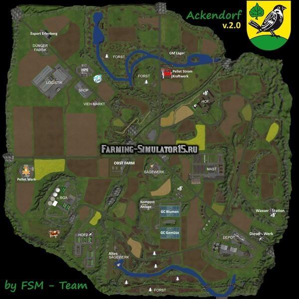 Мод карта Ackerndof v2.2 Русифицированна Farming Simulator 2015