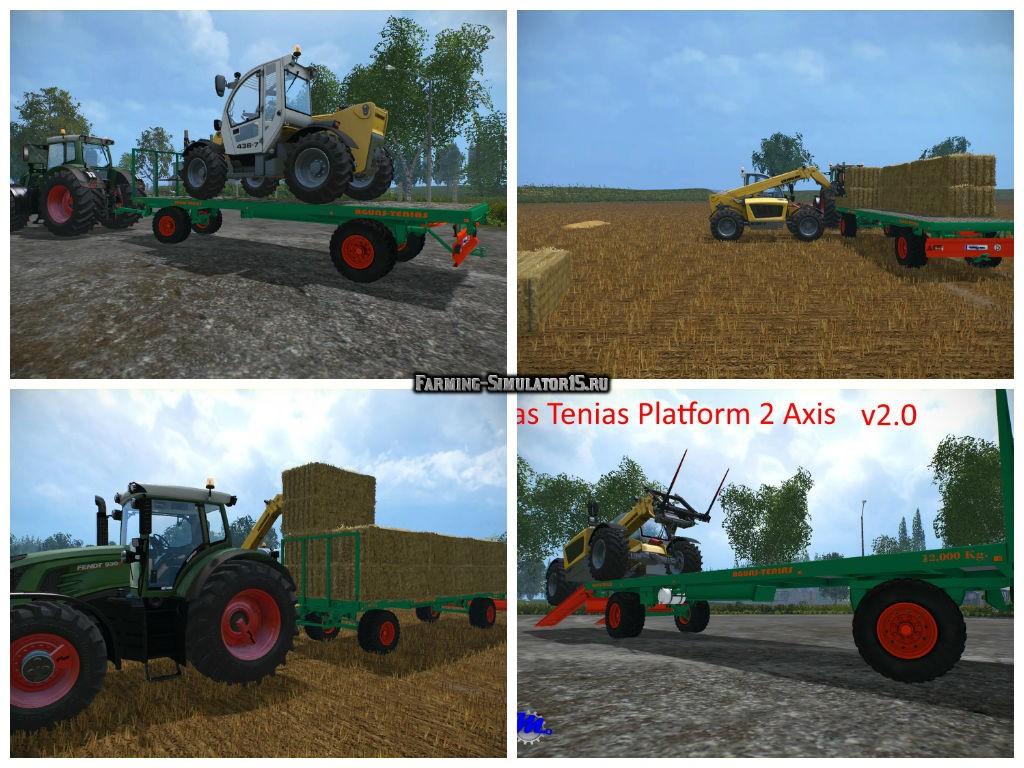 Мод прицеп Aguas Tenias Platform 2 Axis v 2.0 Farming Simulator 15