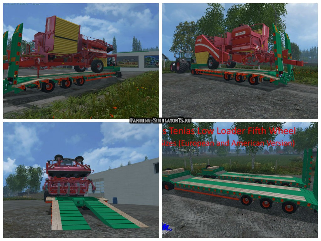 Мод трал Aguas Tenias Low Loader Fifth Wheel v 1.0 Farming Simulator 15