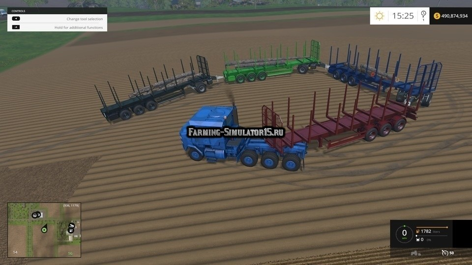 Мод прицеп Flieg Timber Runner Auto Load Wood with Rear hitch v 0.3.0 Farming Simulator 2015