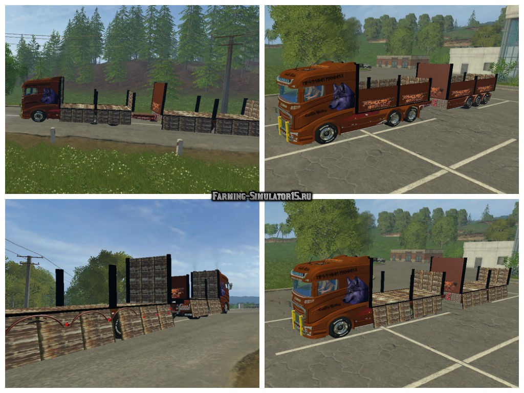 Мод грузовик Scania R1000 flatbed Farming Simulator 15
