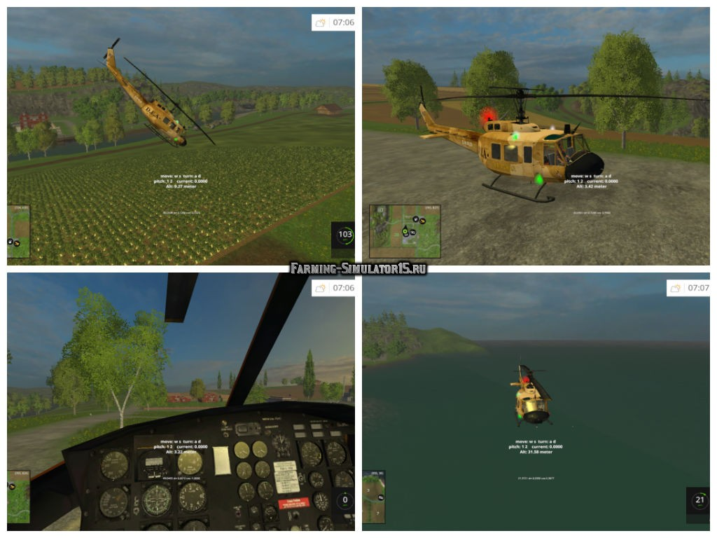Мод вертолет Bell UH-1D Farming Simulator 2015