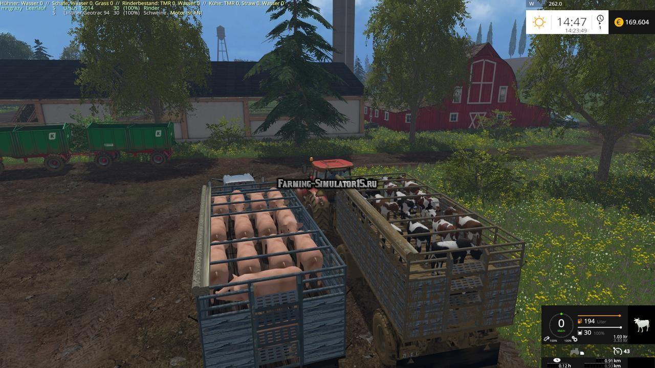 Мод прицеп HW Vieh Transporter v 3.5.0 Farming Simulator 2015