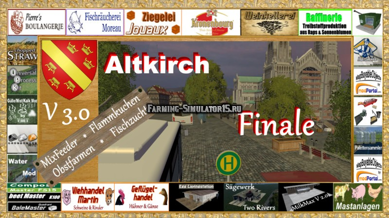 Мод карта Altkirch in Alsace V 3.0 Multifruit Map RUS Farming Simulator 15