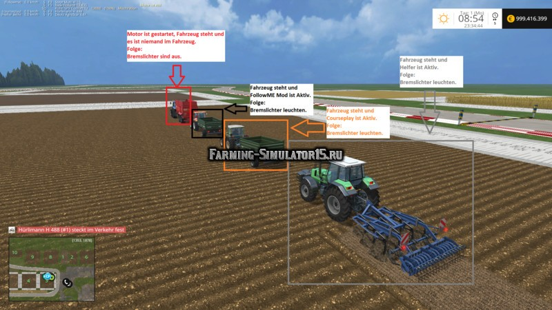 Мод скрипт Brake Light Extension v 1.8 Farming Simulator 2015
