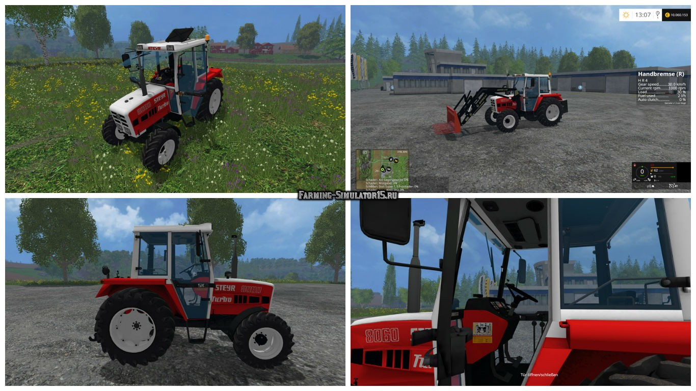 Мод трактор STEYR 8060a Turbo SK2 v 1.0 Twin tires & Snow chains Farming Simulator 15