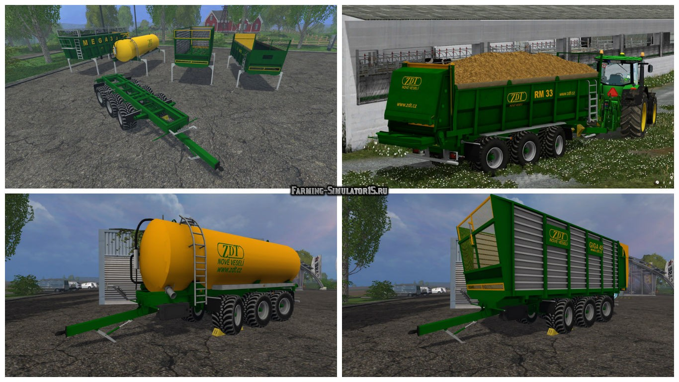 Мод ПАК прицепов ZDT Mega 33 Pack v 1.0 Farming Simulator 2015