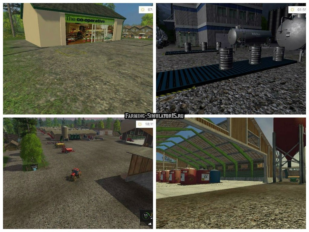 Мод карта LAKESIDE FARM BY STEVIE V4.0 RUS Farming Simulator 15