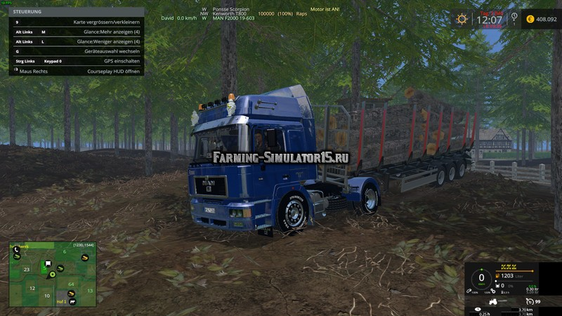 Мод грузовик MAN F2000 19-603 v 1.0 Farming Simulator 2015