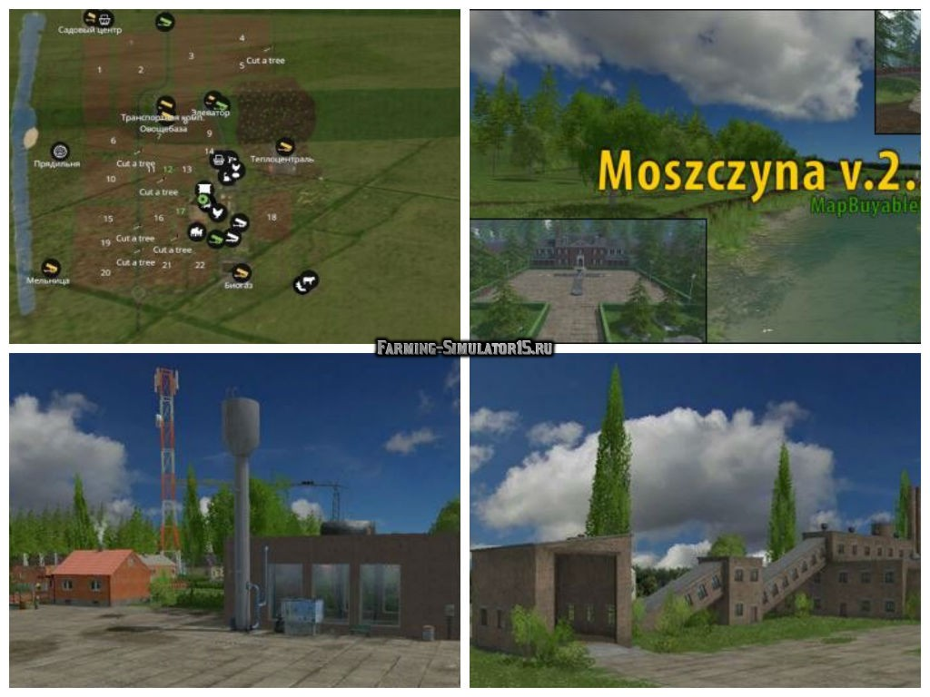 Мод карта Moszczyna v 2.3.6 Farming Simulator 15